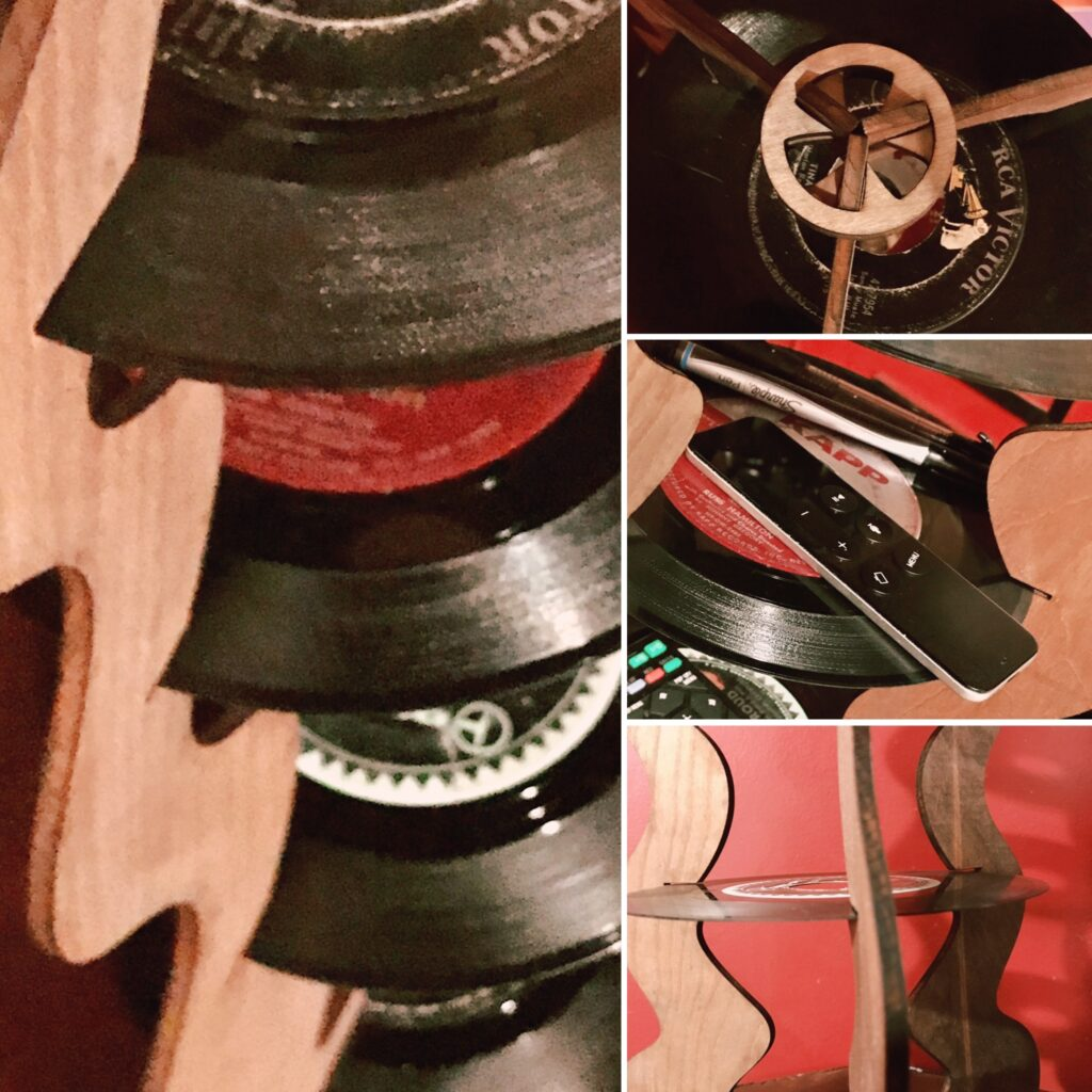 Repurposed 45 record shelf by Tona Williams